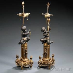 Pair of Parcelgilt Bronze Lamp Bases