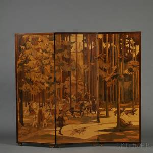 Paul Spindler French 19071980 Threepanel Marquetry Floor Screen c 1950