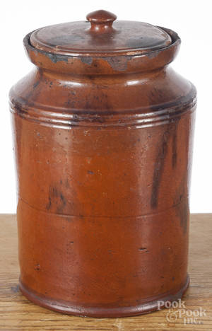 Redware lidded crock