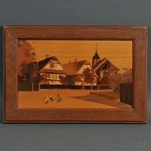 Paul Spindler French 19071980 Marquetry Panel Depicting the Village of Andlau