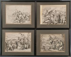 Italian School 18th19th Century Six Framed Engravings Bartolomeo Pinelli Italian 17811835 Five Engravings on Roman Themes s