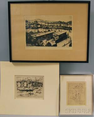 Three Etchings Gifford Beal American 18791956 Newport Harbor