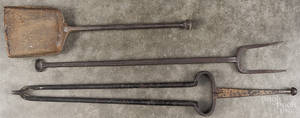 Three iron fire tools