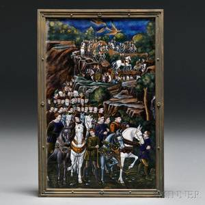 Limoges Enamel on Copper Plaque Depicting the Procession of the Magi