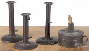 Three hogscraper candlesticks