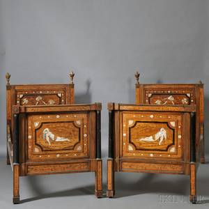 Pair of Italian Neoclassicalstyle Inlaid Walnut Twin Beds