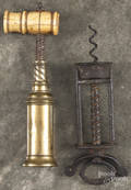 Two early brass and iron corkscrews