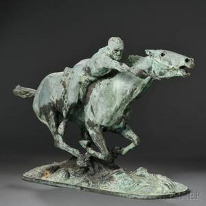Edmond Drappier French fl Early 20th Century Bronze Figure of a Horse and Rider