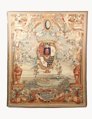 Aubusson Style Wall Tapestry wLandscape  Crest