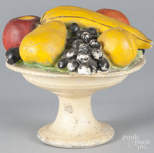 Painted chalkware compote of fruit