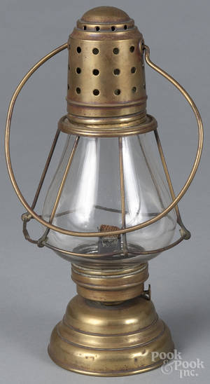 E Miller  Co brass lantern