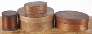 Four bentwood pantryspice boxes