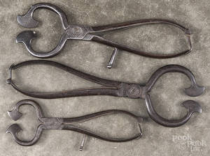 Three wrought iron sugar nippers