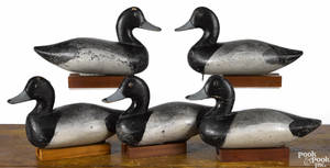 Rig of five Chesapeake Bay carved and painted bluebill duck decoys mid 20th c