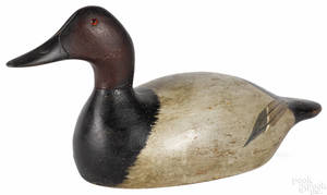 Evans factory carved and painted canvasback duck decoy early 20th c