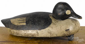 Attributed to Billy Ellis Canadian carved and painted goldeneye duck decoy early 20th c