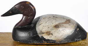 Midwestern carved and painted canvasback duck decoy early 20th c
