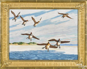 Richard Bishop Pennsylvania 18871975 oil on board of a flock of flying ducks titled