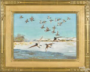 Richard Bishop Pennsylvania 18871975 oil on board of a flock of flying ducks in a winter landscape titled