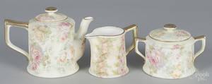 Threepiece Royal Bayreuth tapestry porcelain tea service