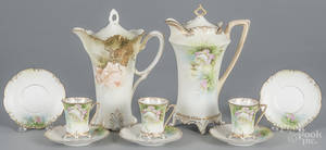 Two R S Prussia porcelain chocolate pots