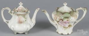 Two R S Prussia porcelain floral teapots