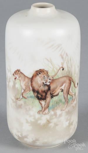 R S Prussia porcelain lion vase