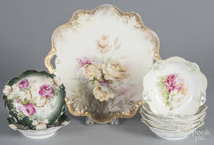 Set of five R S Prussia porcelain floral berry dishes