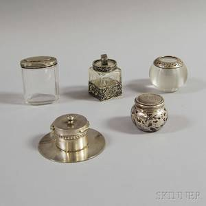Five Sterling Silvermounted Glass Items