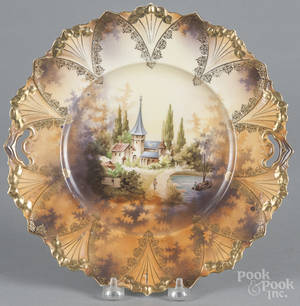 Five pieces of R S Prussia porcelain with a church scene
