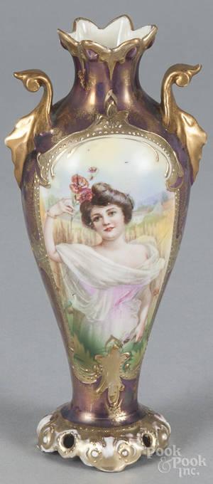 R S Prussia porcelain portrait vase