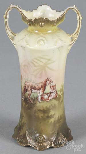 R S Prussia porcelain tiger vase
