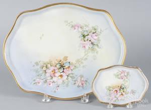 Two Limoges floral dresser trays