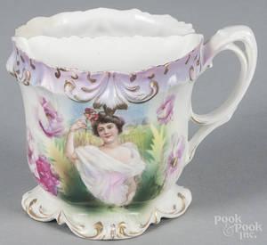 R S Prussia porcelain portrait shaving mug