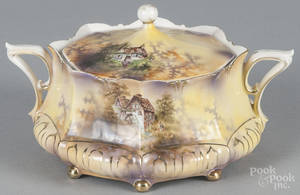 Five pieces of R S Prussia porcelain with a mill scene