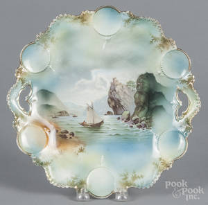 R S Prussia porcelain sailboat cake plate