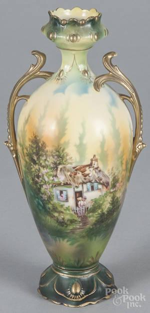 R S Prussia porcelain cottage vase