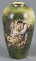 R S Suhl porcelain courting scene vase