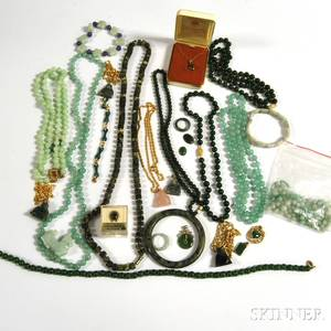 Group of Assorted Jade and Green Hardstone Jewelry