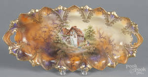 R S Prussia porcelain mill scene tray
