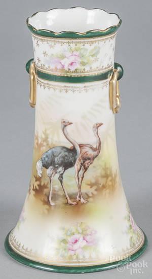 R S Prussia porcelain ostrich vase
