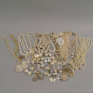 Large Group of Mostly Faux Pearl Costume Jewelry