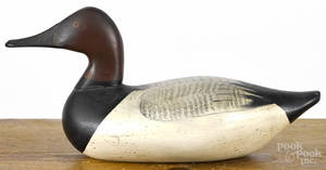 Upper Chesapeake Bay carved and painted canvasback duck decoy mid 20th c