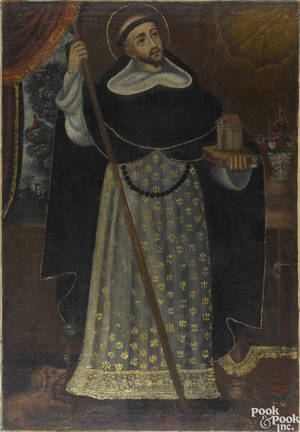 Spanish colonial oil on canvas portrait of a Saint 18th c