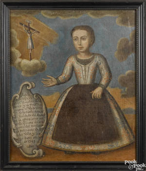 Spanish colonial oil on canvas portrait of a young girl dated