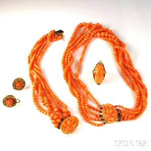 Group of Carved Coral and Coral Bead Jewelry