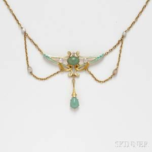 Art Nouveau 14kt Gold and Enamel Lavalierestyle Pendant Necklace