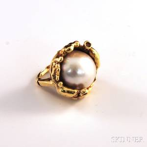 14kt Gold Mabe Pearl and Diamond Cocktail Ring