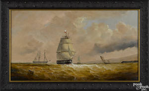Continental oil on canvas seascape 19th c
