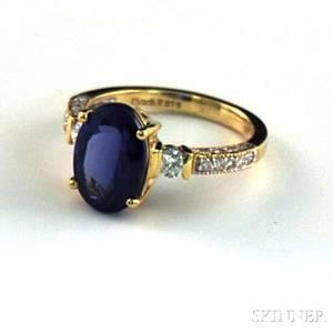 18kt Gold Tanzanite and Diamond Ring